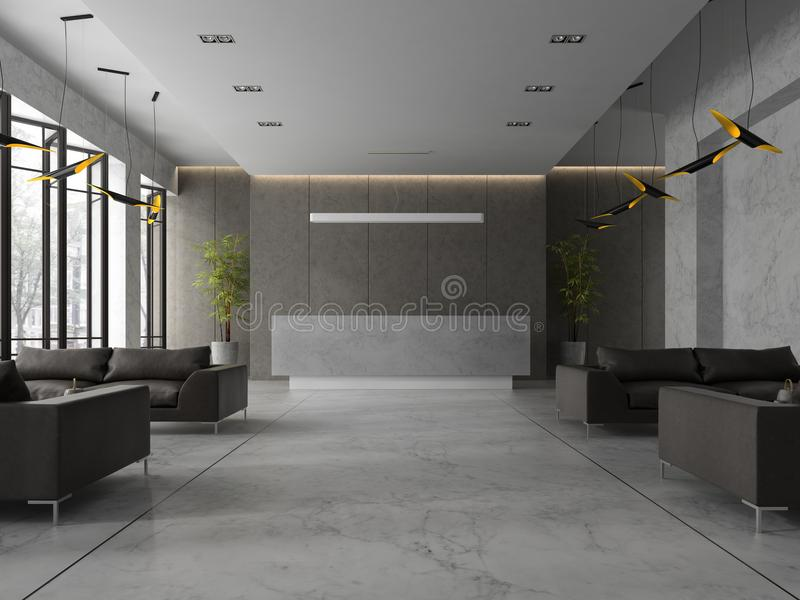 Interior de un ejemplo de la recepción 3D del balneario del hotel libre illustration