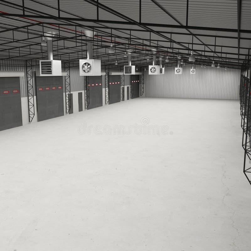 Interior de un trastero vacío ilustración 3D stock de ilustración