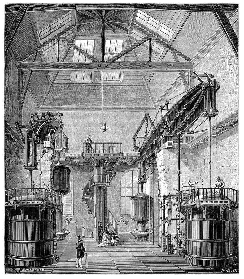 Interior de una bomba de agua en el Sena fotos de archivo