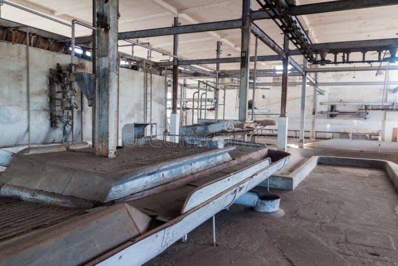 Interior de una fábrica anterior de la carne en la batalla Bentos foto de archivo libre de regalías