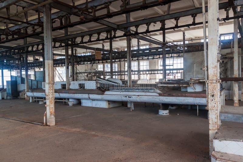 Interior de una fábrica anterior de la carne en la batalla Bentos fotografía de archivo libre de regalías