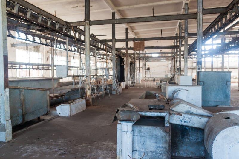 Interior de una fábrica anterior de la carne en la batalla Bentos imagen de archivo