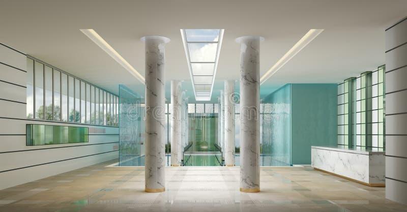 Interior de una recepción del balneario del hotel ilustración del vector