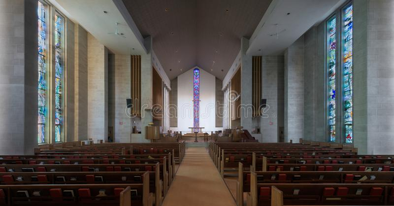 Interior de Wesley United Methodist Church fotografia de stock