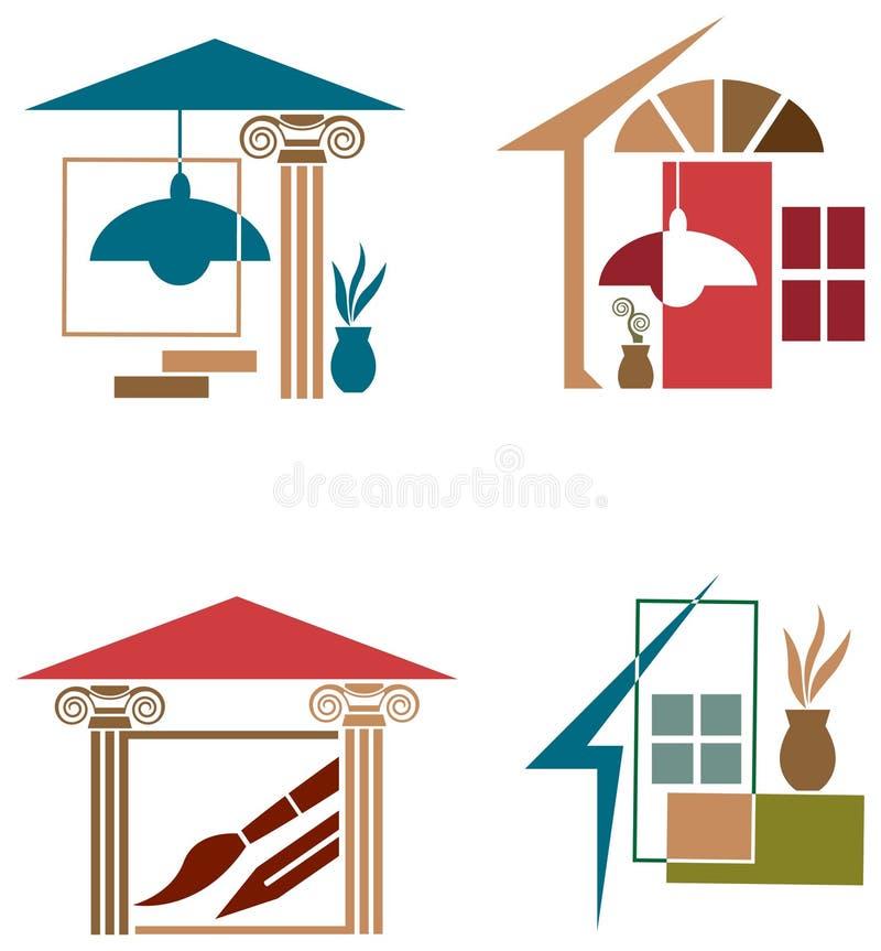 Line Art Logo Maker : Interior decor logo set stock vector image of