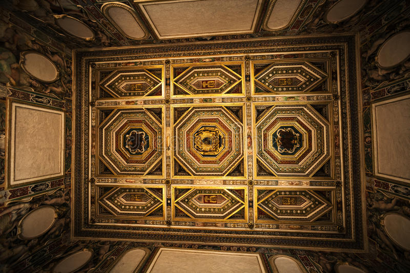 Interior decorated ceiling of room in the historic house. Historic house in Villa d Este in Tivoli in Italy. Interior design. Ceiling with antique decorations royalty free stock photos