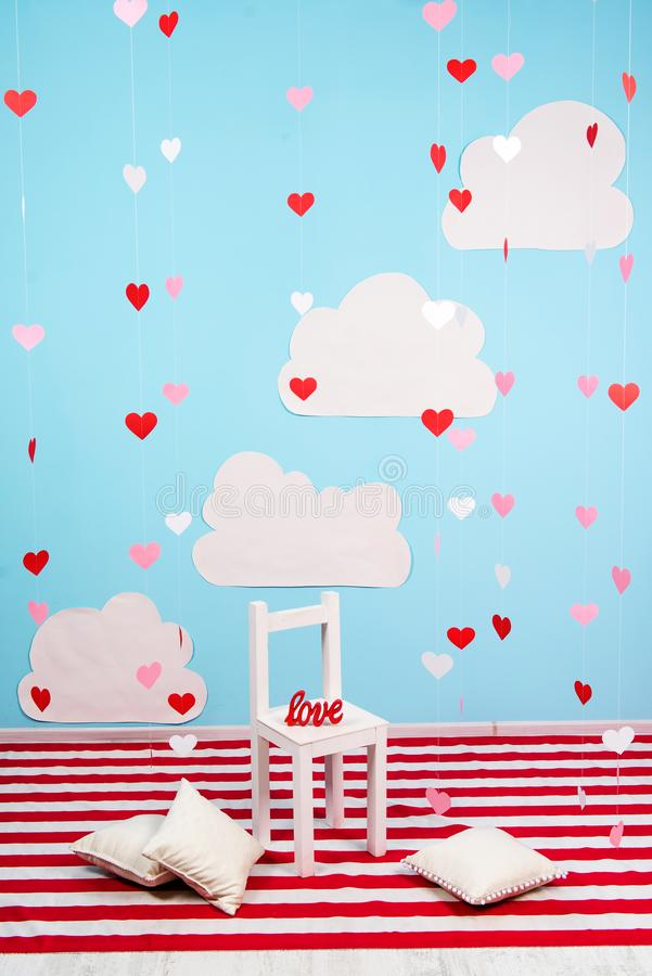 Interior decorated for of St. Valentine`s Day stock image