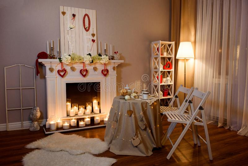 Interior decorated for of St. Valentine`s Day royalty free stock photography