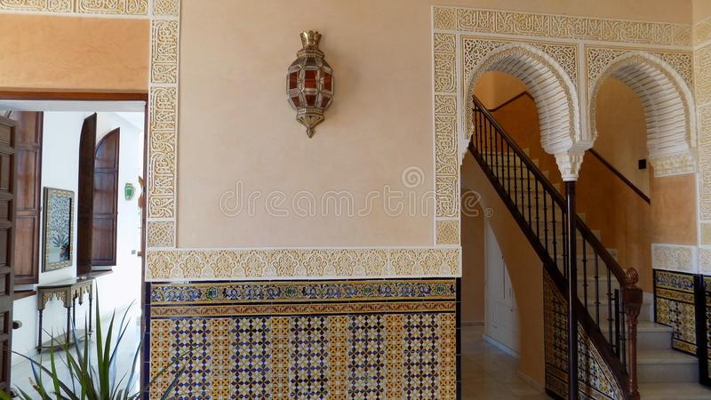 Interior decoration-Mudejar style-Palacio-los-Navajas- ANDALUSIA-Spain. Interior decoration-Los Navajas-Style mudejar-Torreamolinos-Andalusia royalty free stock photo