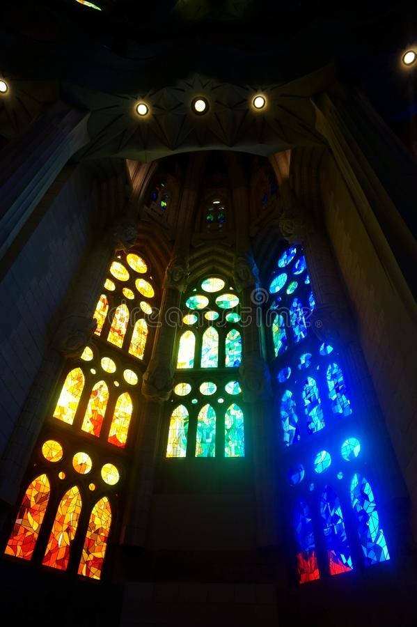 Interior decoration of the Sagrada Familia in Barcelona, imitating a leafy forest stock photography