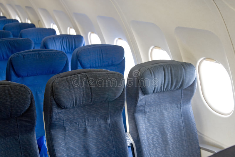 Interior del aeroplano imagen de archivo