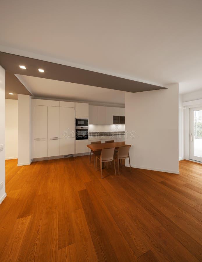 Interior del apartamento moderno, cocina imágenes de archivo libres de regalías