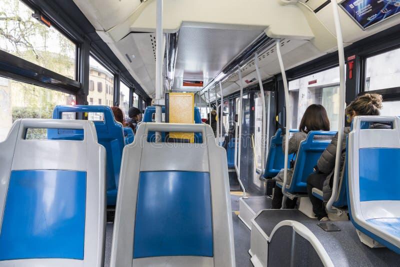 Interior del autobús de Bérgamo foto de archivo libre de regalías
