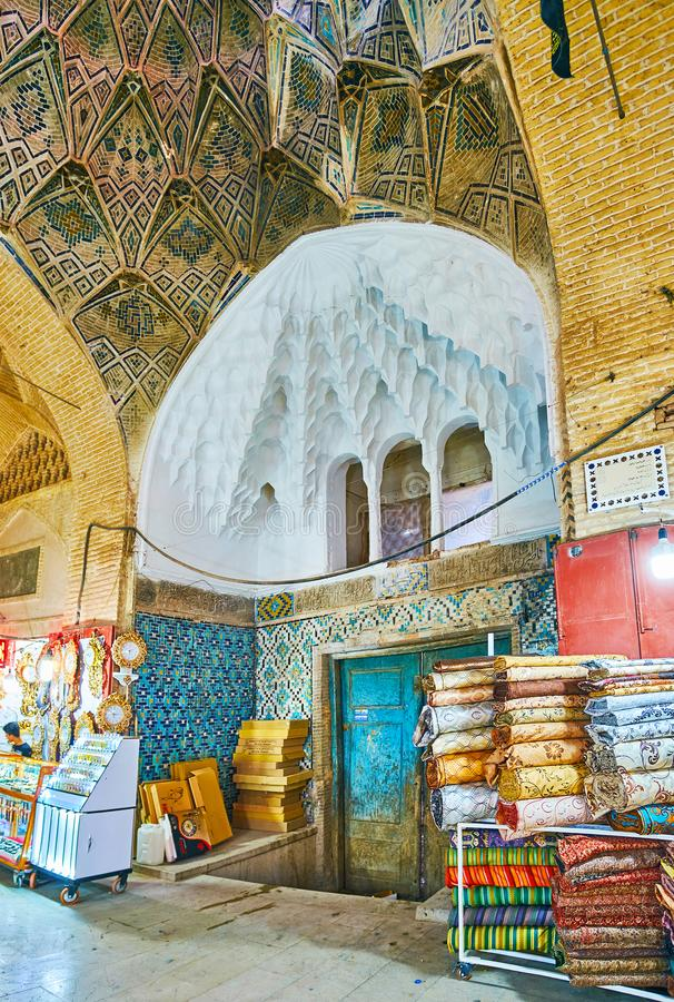 Interior del bazar de Kermán Sartasari, Irán fotos de archivo libres de regalías