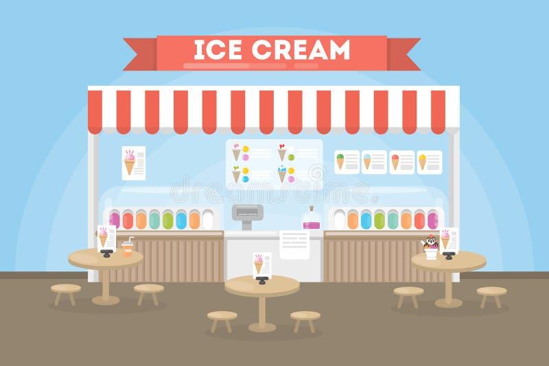 Interior del café del helado ilustración del vector