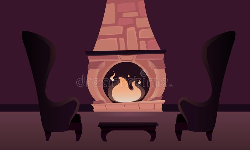 Interior del castillo con una chimenea stock de ilustración