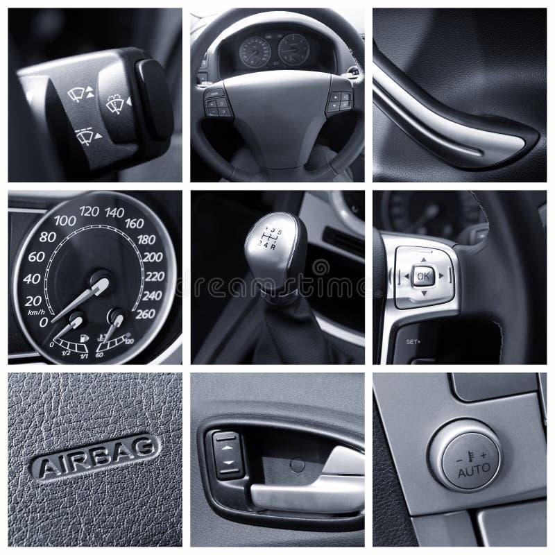 Interior del coche - collage imagen de archivo