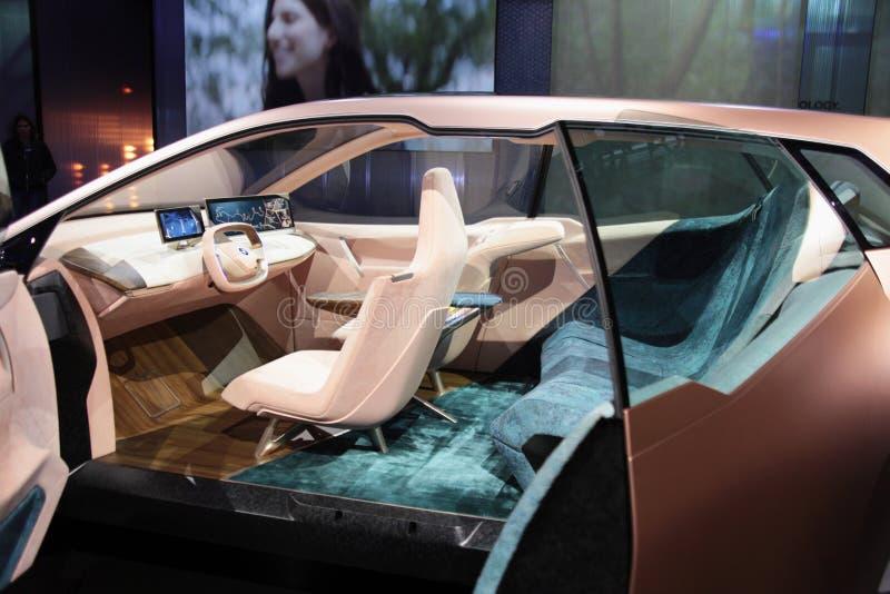 Interior del coche del concepto del iNext de BMW en CES 2019 foto de archivo libre de regalías