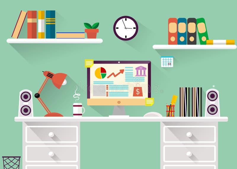 Interior del concepto del lugar de trabajo en diseño plano ilustración del vector