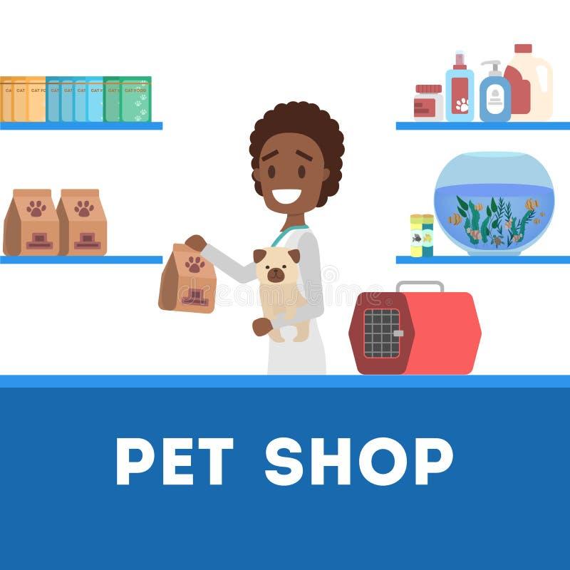 Interior del contador de la tienda de animales con un trabajador stock de ilustración