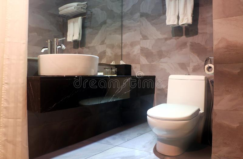 Interior del cuarto de baño con el espejo y la taza del inodoro de vanidad fotos de archivo libres de regalías