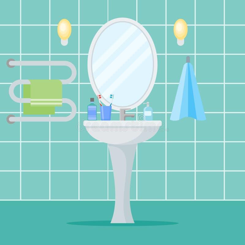 Interior del cuarto de baño con el lavabo, el espejo y las toallas ilustración del vector