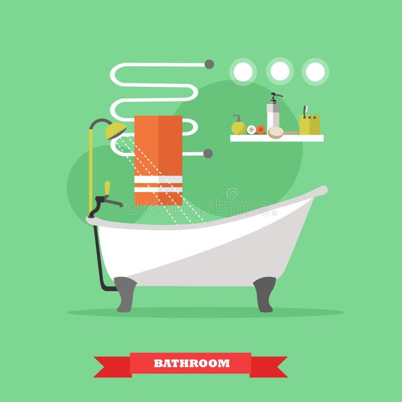 Interior del cuarto de baño con muebles Ejemplo del vector en estilo plano Diseñe los elementos, bañera, estantes, toalla heated libre illustration