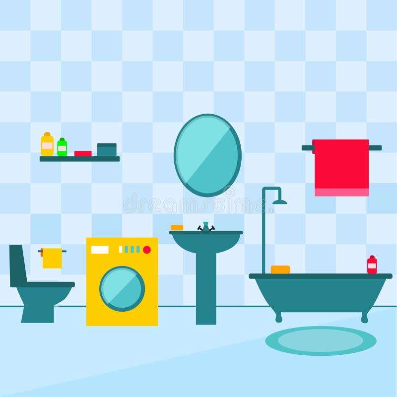 Interior del cuarto de baño en el ejemplo plano del estilo foto de archivo libre de regalías