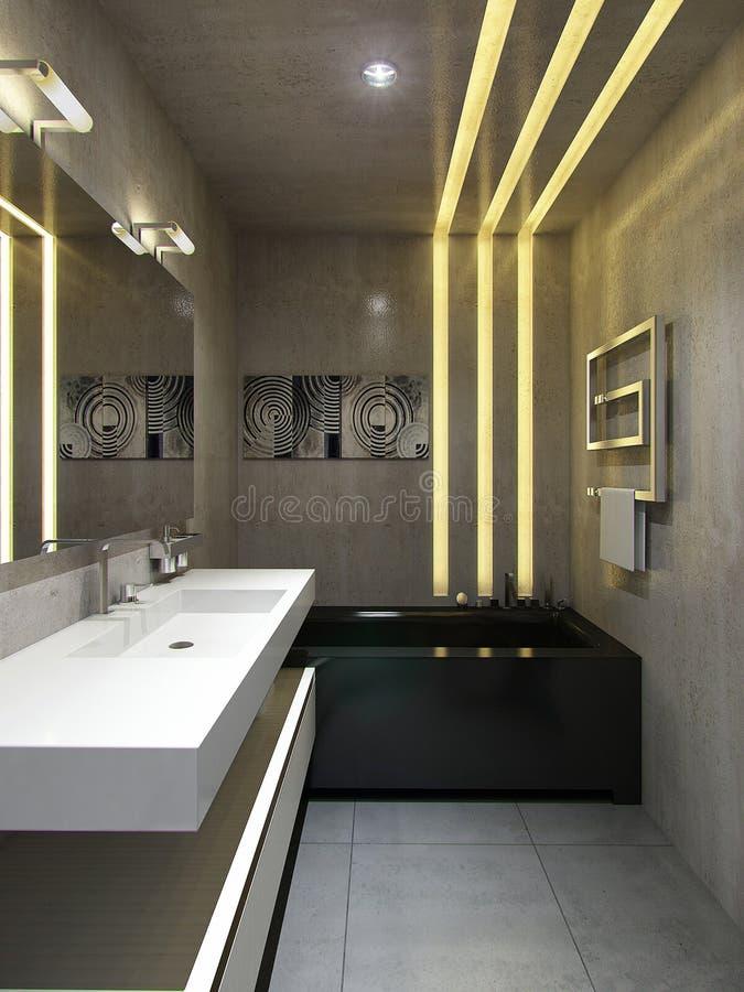 Interior del cuarto de baño en estilo urbano stock de ilustración