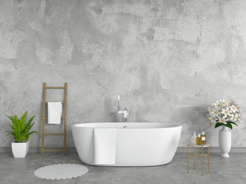 Interior del cuarto de baño, estilo del desván, representación 3D stock de ilustración