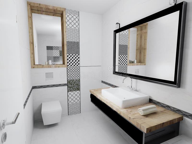 Interior del cuarto de baño moderno 3D stock de ilustración
