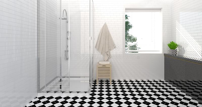 Interior del cuarto de baño, retrete, ducha, ejemplo limpio de la pared 3D del diseño casero moderno para el fondo del blanco del stock de ilustración