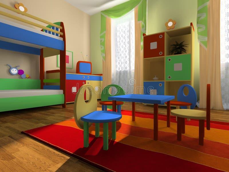 Interior del cuarto del bebé ilustración del vector