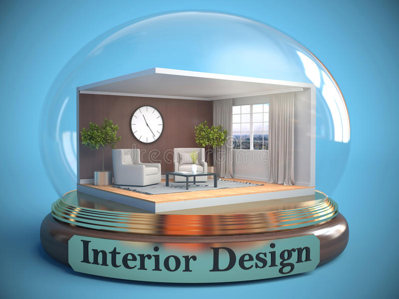 Interior del cuarto en la bola de cristal ilustración 3D ilustración del vector