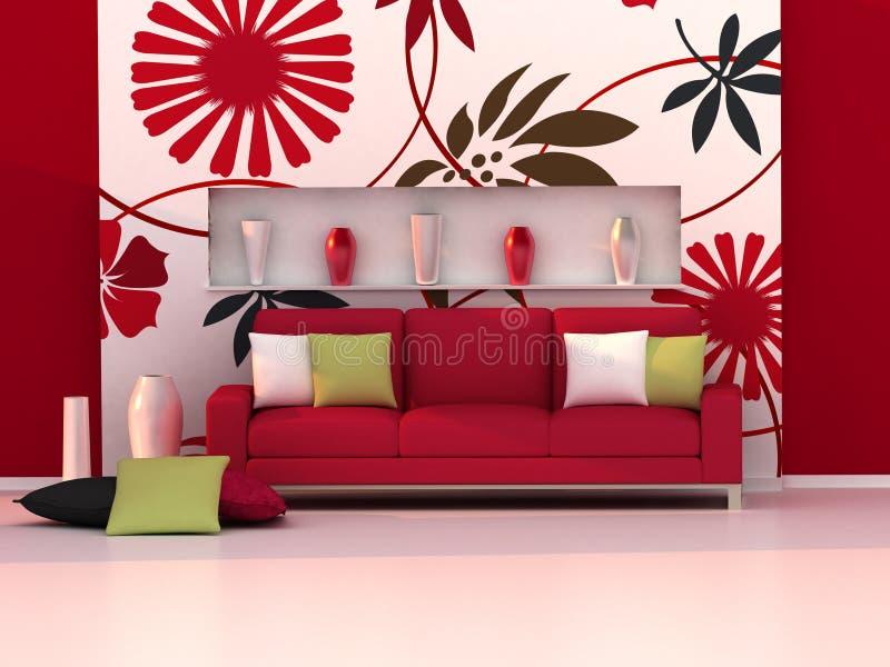 Interior del cuarto moderno, pared floral, sofá rojo ilustración del vector