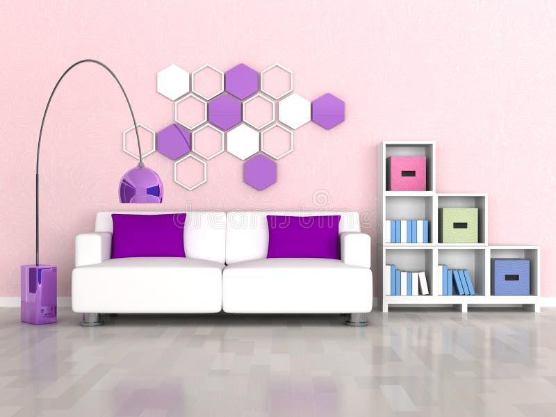 Interior del cuarto moderno, pared rosada, sofá blanco ilustración del vector