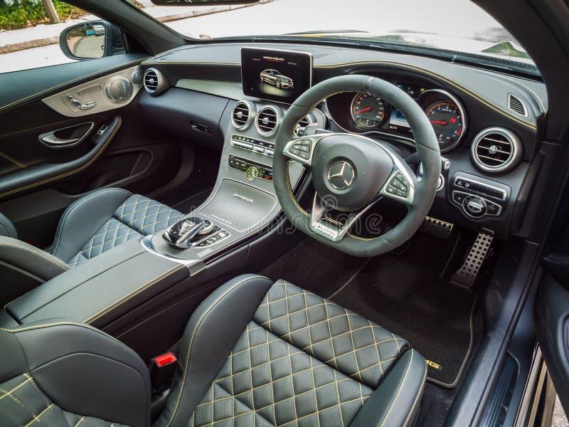 Interior del cupé de Mercedes-AMG C 63 S imagen de archivo libre de regalías