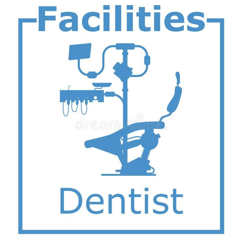Interior del dentista de las instalaciones del logotipo libre illustration