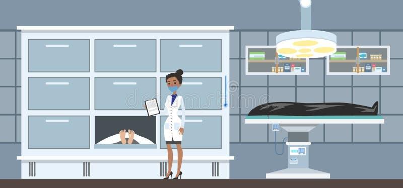 Interior del depósito de cadáveres con los cadáveres stock de ilustración