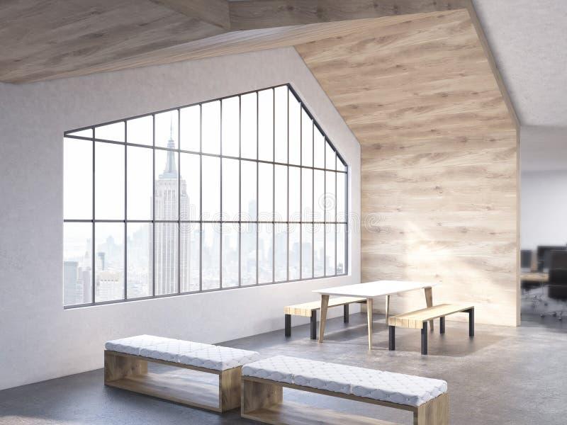 Interior del desván con los bancos libre illustration