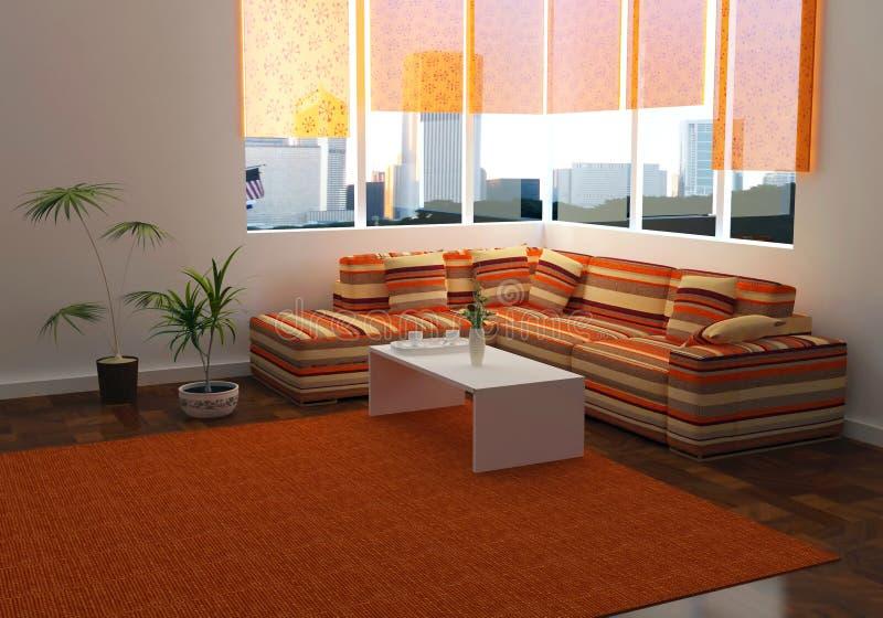 Interior del diseño de la sala de estar moderna de la elegancia ilustración del vector