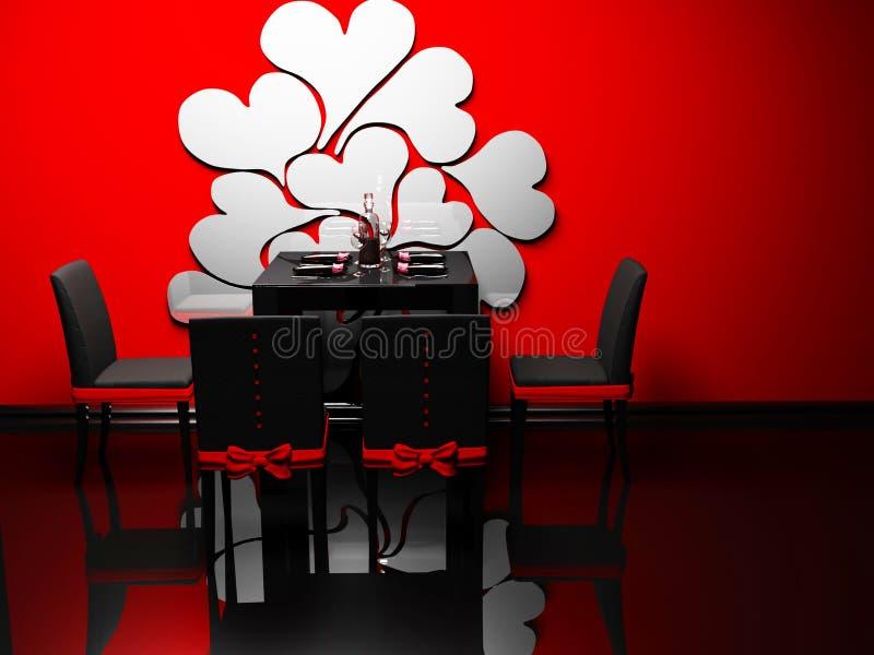 Interior del diseño del comedor romántico de la elegancia stock de ilustración