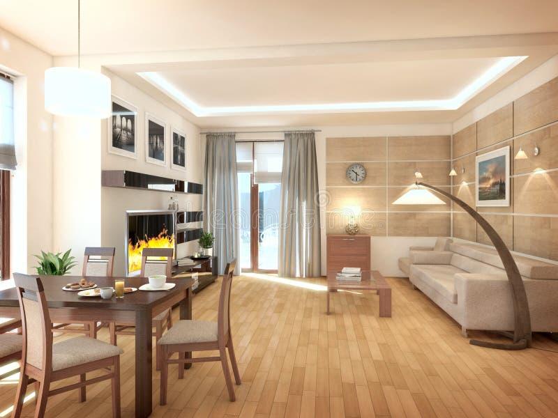 Interior del diseño moderno de la sala de estar 3d rinden fotos de archivo libres de regalías