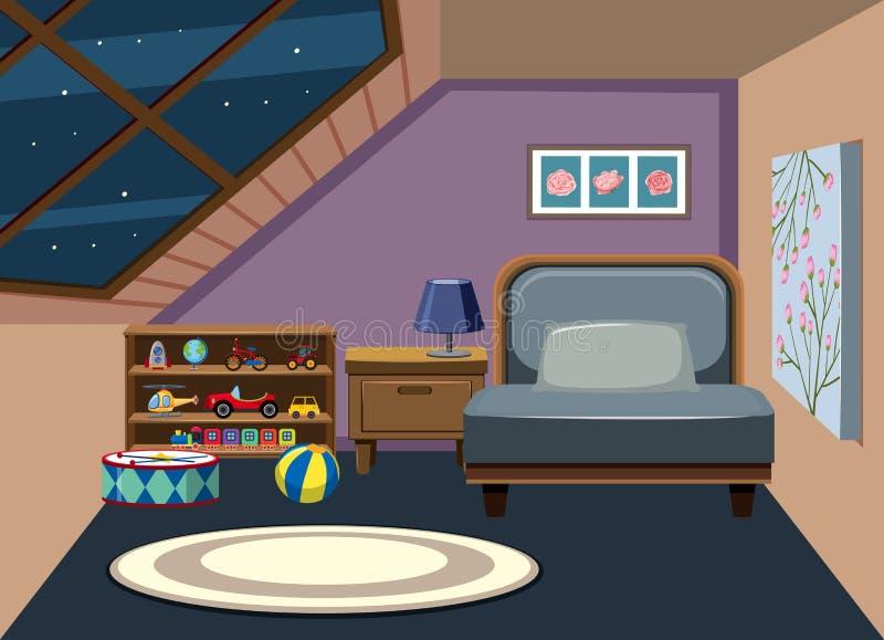 Interior del dormitorio del ático stock de ilustración