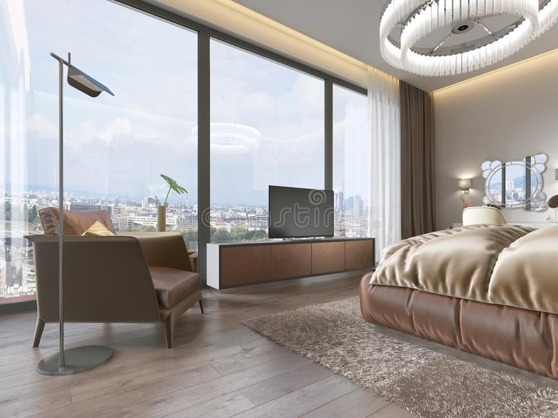 Interior del dormitorio acogedor en diseño moderno con la butaca, la lámpara de pie, la unidad TV retractable de la TV y la tabla ilustración del vector
