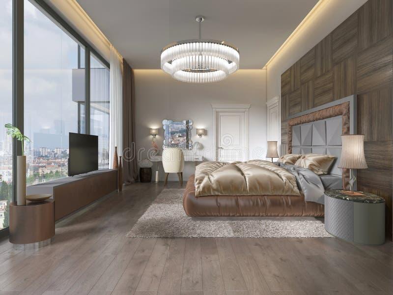 Interior del dormitorio acogedor en diseño moderno con la butaca, la lámpara de pie, la unidad TV retractable de la TV y la tabla stock de ilustración