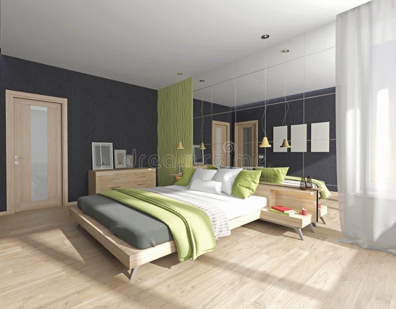 Interior del dormitorio con el espejo stock de ilustración