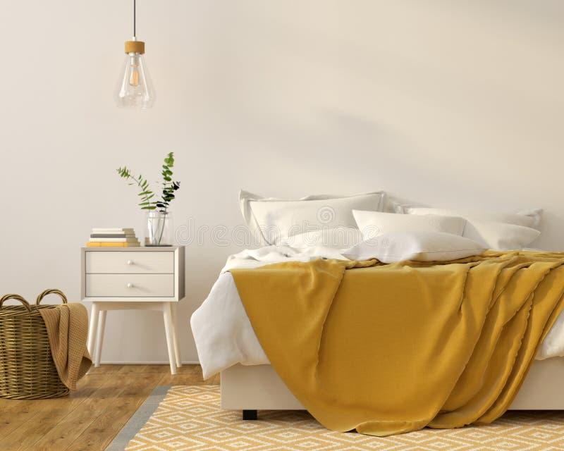 Interior del dormitorio con un décor amarillo ilustración del vector