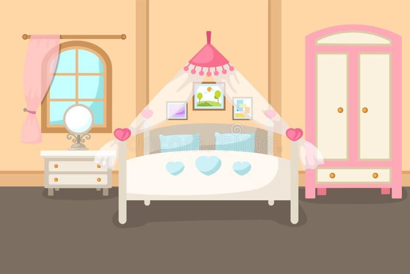 Interior del dormitorio con un vector de la cama ilustración del vector