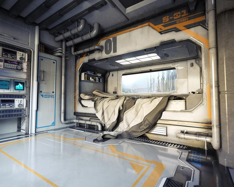 Interior del dormitorio de la ciencia ficción stock de ilustración